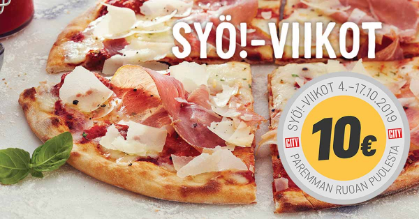SYÖ viikot banner with pizza picture and price 10€